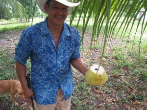 Cutting a Fresh Coconut in Belize