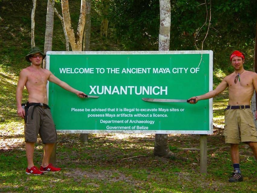 Belize Adventure Tours Welcome to Xunantunich with the boys